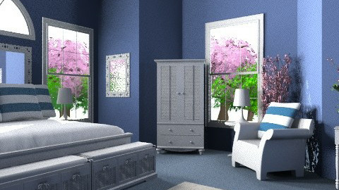 White & Navy - Modern - Bedroom - by egrimsley