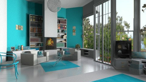 Bright blues - Living room - by Ren707