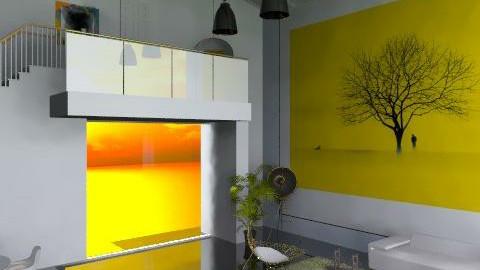 Minimalist white yellow - Minimal - Living room - by carolinafer