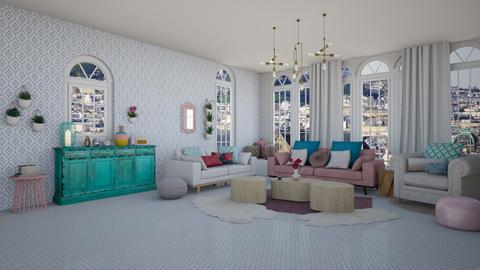 Pink and Blue - Living room - by Jade Blt
