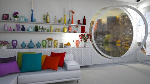 through the round window - Modern - Living room - by donella