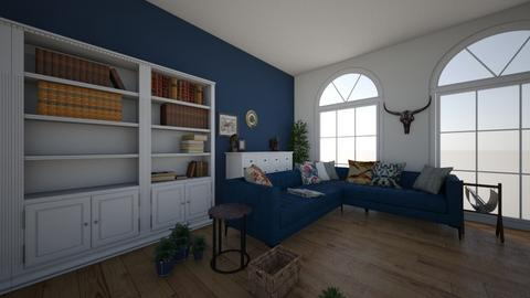 white and blue room - Modern - Living room - by amilya