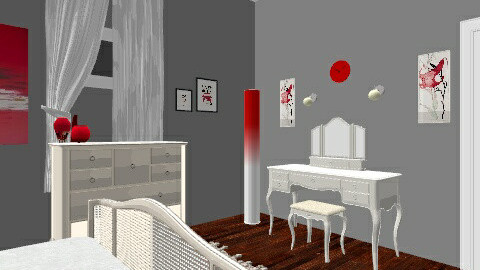 GREY RED ROOM - Bedroom - by Ashley Thacker