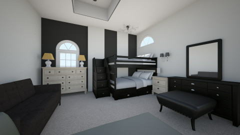 Black and White Bedroom - Bedroom - by mian_143