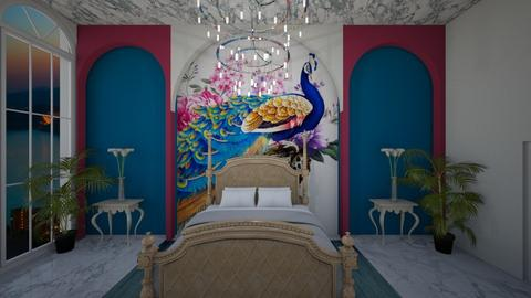 peacock castle - Glamour - Bedroom - by chloe_mccarty