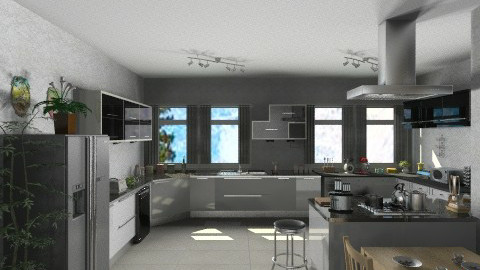 Gray kitchen - Glamour - Kitchen - by GALE88