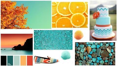 Orange and  Turquoise - by mfurze