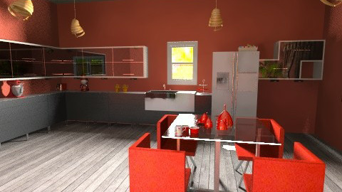 Red Kitchen Dining Room - Retro - Kitchen - by jessicalove