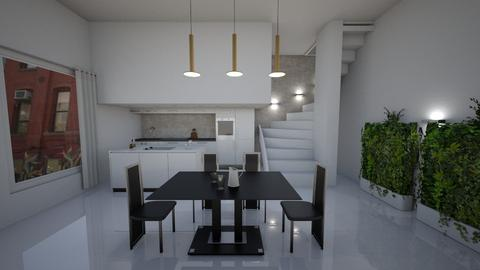 White Natural Brutalism - Kitchen - by Ginntare