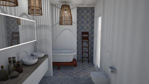 Blue Bathroom I - Rustic - Bathroom - by Daria Marienko