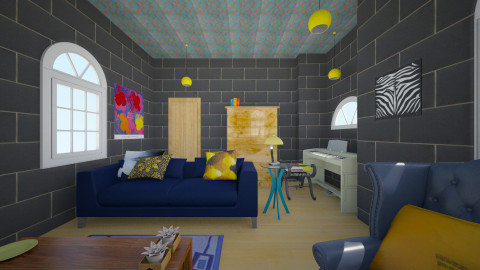 Lounge Yellow and  Blue - Retro - Living room - by ra101