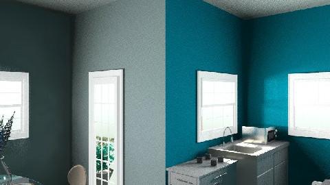 Blue Kitchen and a little garden - Minimal - Kitchen - by Helga06