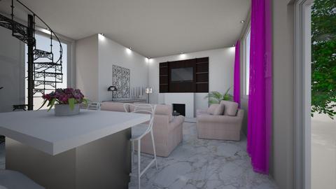 SALON Z KUCHNIA - Living room - by DERRYS