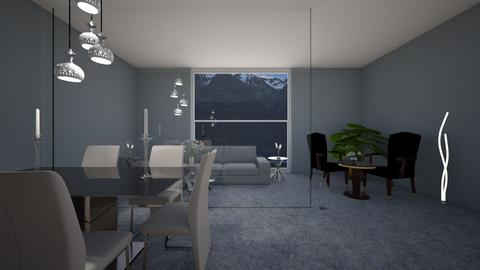 Grey wall living room - Living room - by Suelb