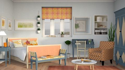 Orange Blue Bedroom - Bedroom - by Sally Simpson