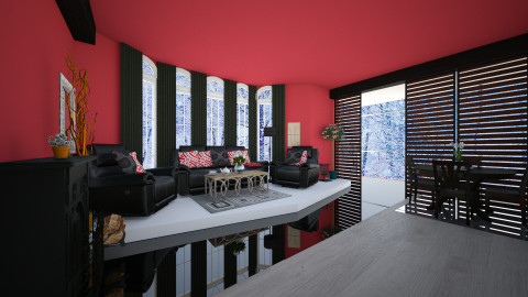 Red red  - Living room - by Nina26