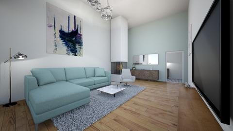 blue living room  - Modern - Living room - by annsal