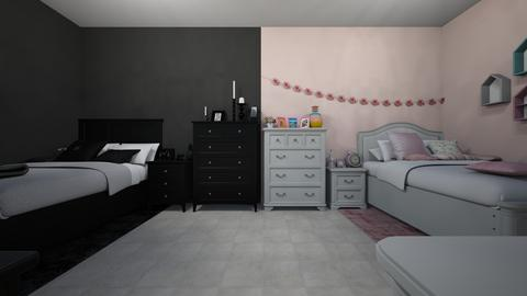 goth and doll sis room - Bedroom - by jade1111