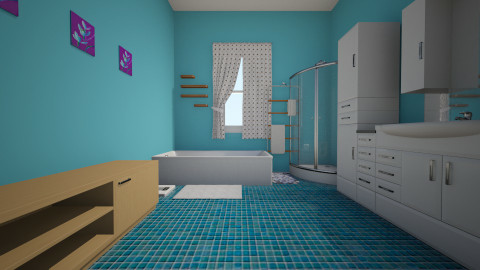 BLU BLOOM BATHROOM - Retro - Bathroom - by Stephanie Felix
