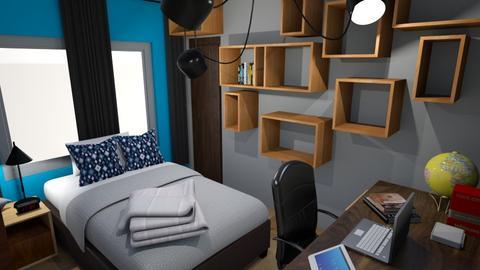 interior de quarto rustico azul 2019 julho - Rustic - Bedroom - by chicofon