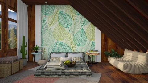 Leaves in the Cabin - Bedroom - by deboraharmelin
