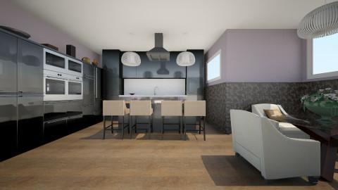 black kitchen - by pamela Cowan