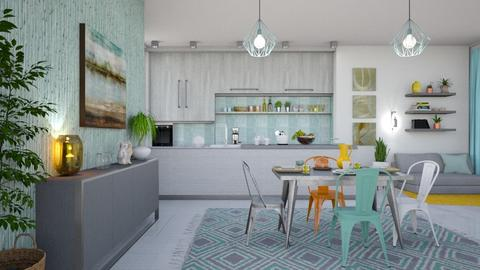 M_ Gray and mint_ EK - Kitchen - by milyca8