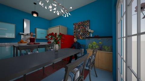aqua blue kitchen - Kitchen - by trangtuankiet