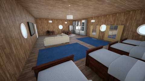 Ski Resort Hotel Room - Retro - Bedroom - by Okeanos