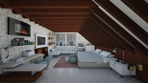 Leaf pattern attic - Rustic - Bedroom - by Veny Mully