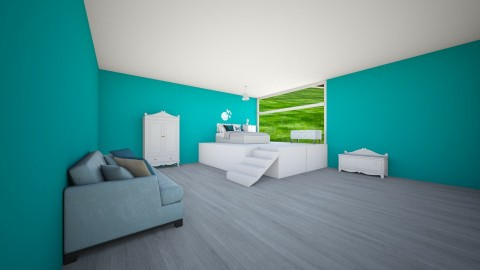 Blue Teen Bedroom - Glamour - Kids room - by deleted_1506278320_Naomi Soden