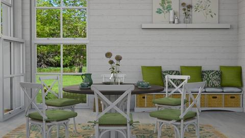 green - Rustic - Dining room - by NEVERQUITDESIGNIT