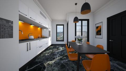 OrangeBlackWhite - Kitchen - by Isabella_Palmeri