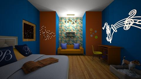 orange and blue - Bedroom - by love room