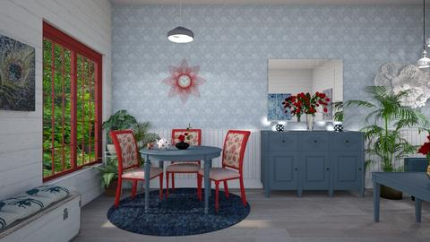 red chairs blue table - Eclectic - Dining room - by Kelly Carter