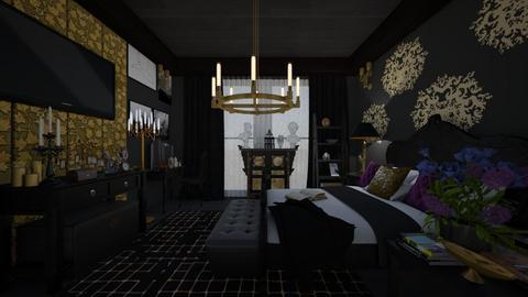Bedroom dark - Vintage - Bedroom - by kristenaK