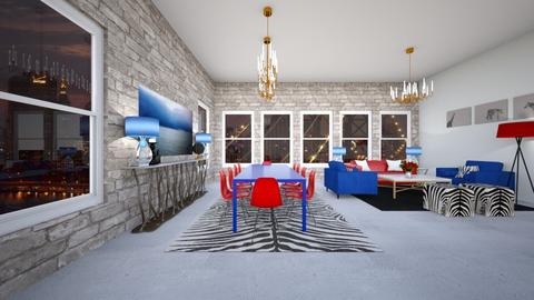 red and blue - Modern - Dining room - by Mari Lara_978