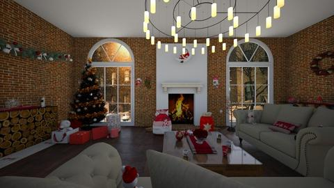 Red christmas - Living room - by lin19lee