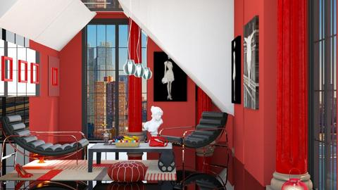 Red and Black - Living room - by elephant in savanna