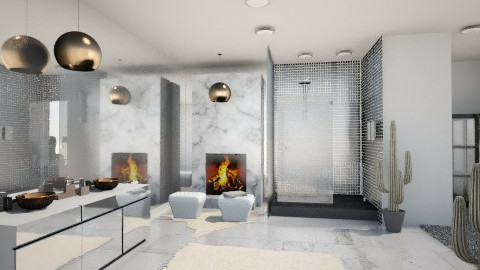 White Marble bathroom - Minimal - Bathroom - by RonaBradacs