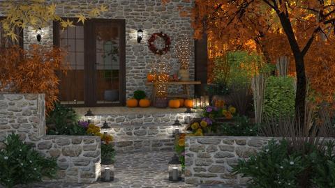 Autumn House in the Woods - Garden - by GraceKathryn