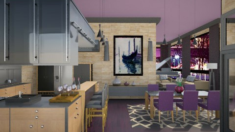 Purple and Beige - Modern - Kitchen - by crosette