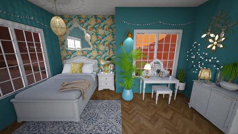 Blue n yellow - Bedroom - by elle rose