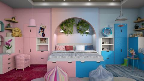 Pink and Blue Kids Room - by ZsuzsannaCs