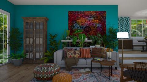 bohemian - Living room - by rickglassinteriors