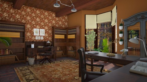 botanists study - Rustic - Office - by corbu_cat