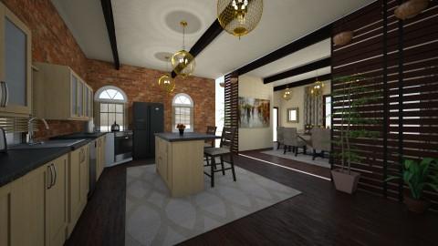 brick kitchen with diningroom - Classic - Kitchen - by kla