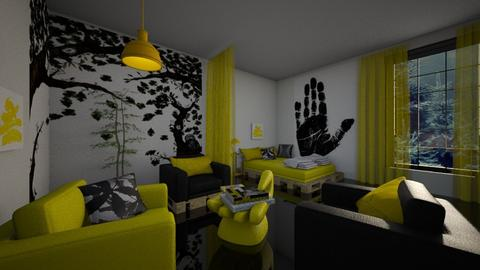 yellow black teen room - by ilcsi1860