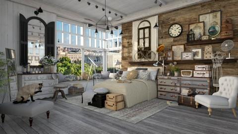 Grey Wooden Floor - Bedroom - by maja97