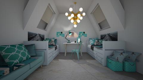 bedroom 1 teal - Modern - Bedroom - by NEVERQUITDESIGNIT